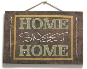 Modern Farmhouse Home Sign, Hanging Home Sign, Jute Sign, Home Sweet Home Hanging Sign, Home Wall Decor, Green Decor, Rustic Spring Decor
