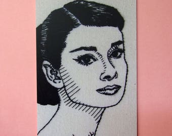 Audrey Hepburn postcard - Old Hollywood hand embroidery art card