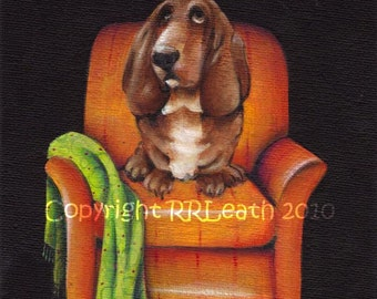 5 X 7 original painting   NAPOLEON On His THRONE    basset hound
