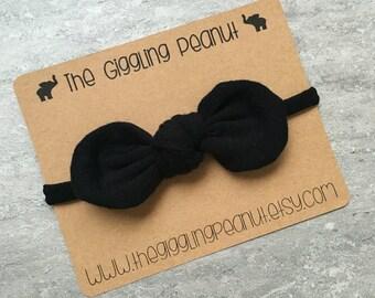 Black Mini Knot // Nylon Headband // Small Bow Headband // Petite Bow Headband // Newborn Headband // Baby Girl Headband // Baby Shower Gift
