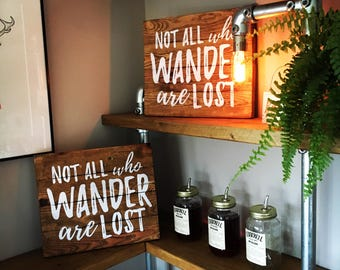 Not all who wander are lost wooden poster