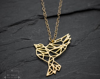 Bird necklace, dove necklace, animal necklace, geometric dove pendant, gift under 50, everyday necklace, gift for her.