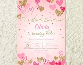 Sweetheart Birthday Invitation, Little Sweetheart Pink Gold Invite, Valentine's Birthday Invitation, Heart Confetti Sweetie Invitation