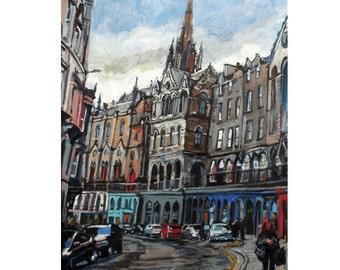Scotland Painting. Scottish Painting. Edinburgh Scotland Victoria Street Old Town Fine Art Print Architecture Painting by Gwen Meyerson