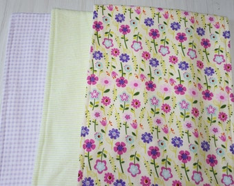 Burp Cloth Floral Flowers Green Stripes Gingham Flannel Terry Cloth Set of 3 XL