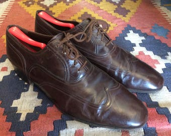 1980s Vintage Bruno Magli Wingtip Dress Shoes - Brown Oxford Formal Men's Shoes - Men's 11 - Made by hand in Italy