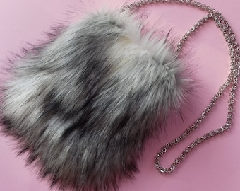 Faux Fur Purse in Arctic Color / Birthday's Gift Idea / Wedding accsesories / Chic bag / Easter