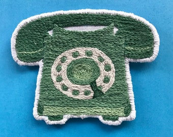Green Rotary Telephone Patch – Hand Embroidered