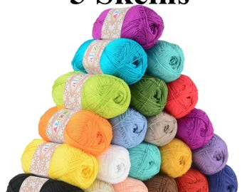 5 Skeins Silk effect Alize Forever, microfiber acrylic yarn extra soft crochet dress / top, ultra fine yarn,3 ply lace weight crochet thread