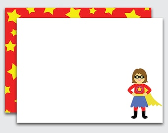 Girls Note Cards / Super Hero / Note Cards / Super Hero Thank You Notes for Girls / Set of 10 (Item #1708-003FLP)