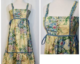 RESERVED Tracy 70s Floral Smocked Sundress