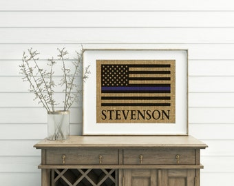 Thin Blue Line Flag - Burlap Print - Police Officer Gifts - Cop Gifts - Police Officer Decor - Blue Line Flag - Police Officer Wife - Print