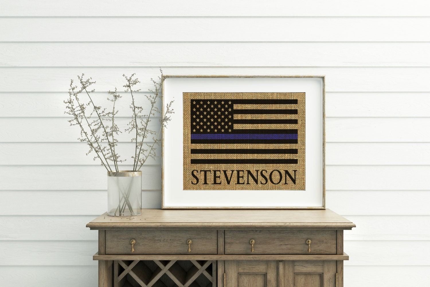 Thin Blue Line Flag Burlap Print Police Officer Gifts