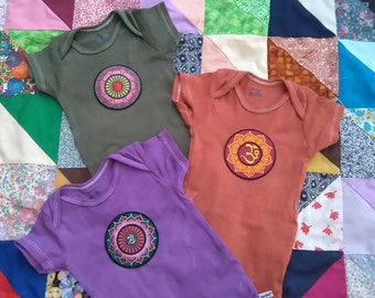 Boho Baby Onesie, hand dyed with patch