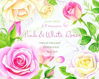 Watercolor Flowers Clipart, Roses, Wedding Floral Invitation, Hand Painted, Greeting card, Rose, Pink, White, Leaf, Diy. Pink & White Roses