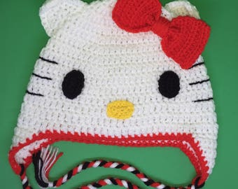 Hello Kitty! Cat Crochet Hat with Ear Flaps! - Child / Kids Size - Machine Washable