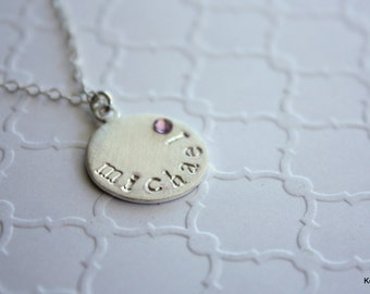 Personalized Name Necklace, Birthstone Necklace, Mommy Necklace, Mother's Necklace, Hand Stamped, Baby Name Disk