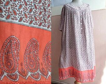 Plus Size - Vintage Indian Cotton Gauze Tent Dress - Boho Gypsy Dress - Orange Paisley Dress - Maternity Dress