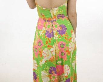 70s Maxi Dress Women's Vintage Psychedelic Floral Halter Dress Medium
