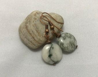 Gemstone coin earrings Moss agate earrings White stone earrings Agate jewelry Green stone natural earrings Nature jewelry Girlfriend gift
