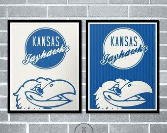 Kansas Jayhawks Retro Throwback Jersey Inspired Graphic Print