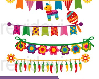 Cinco de mayo bunting clipart - Mexican banners clip art - digital images - instant download