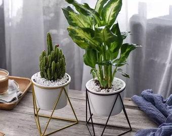Midcentury Modern Planter, Medium Ceramic Succulent Pot, Ceramic Planter Set, Cactus Planter Container, Iron Stand, Plants not Included