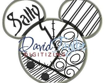 Mickey head - Nightmare Before Christmas - Sally - Applique - Instant Download - David Taylor Digitizing