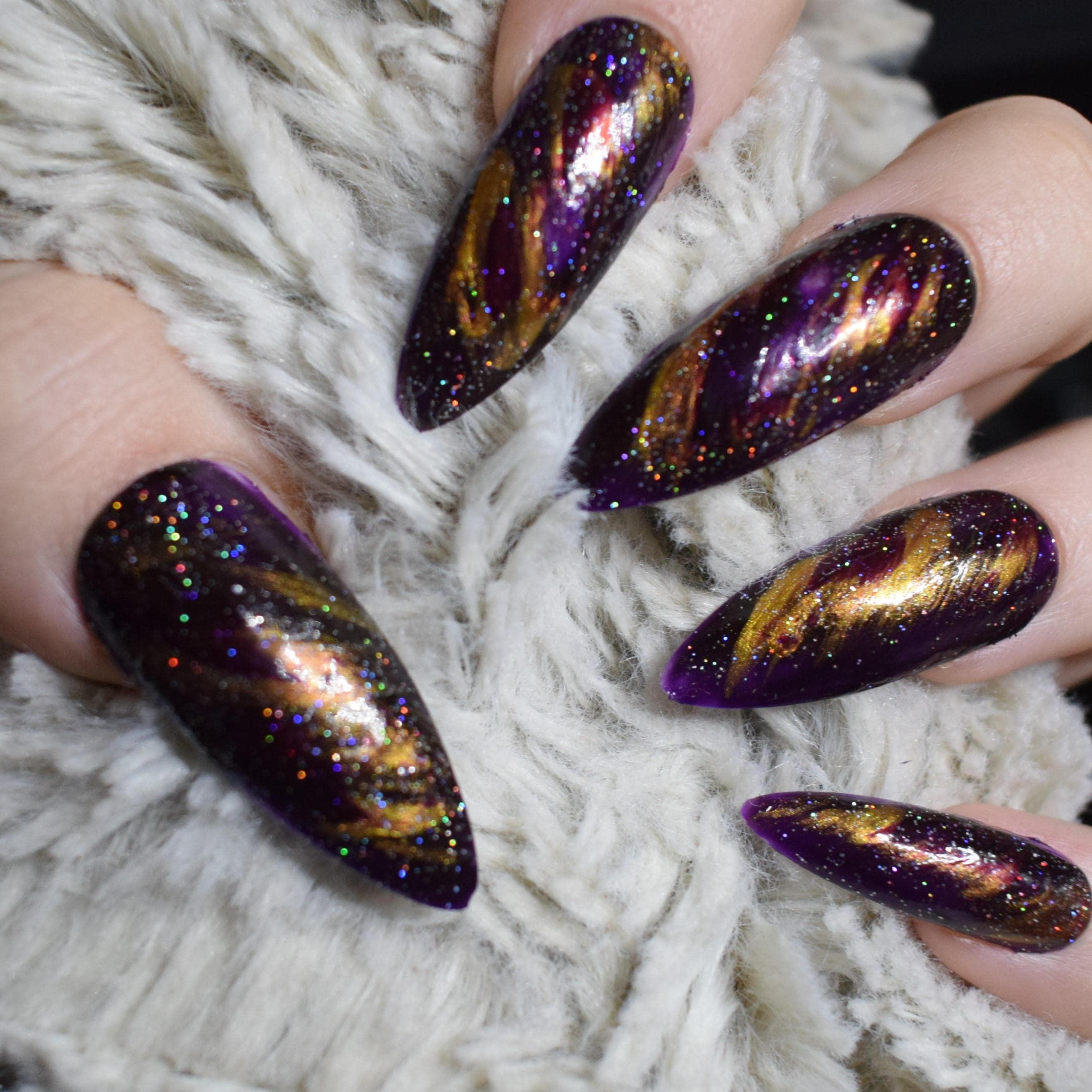 Purple Galaxy Fake Nails, Extra Long Stiletto False Nails, Hand ...