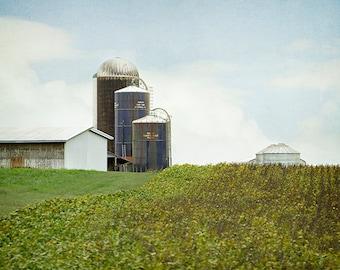 Farm Photograph, Silos, Rustic Decor, Farmhouse Print, Dairy Farm, Rural Landscape, Country Landscape, Green, Blue - Windsor Silos