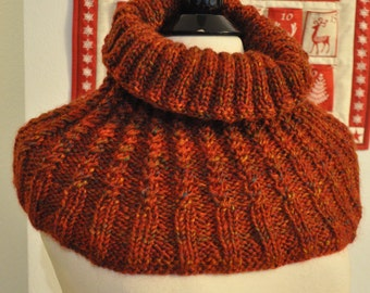 Neck warmer/Cowl and Hat Set Hand knitted textured twisted rib, soft warm Shoulder Wrap and  Beanie Set, light weight Lang wool