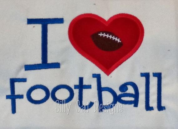 I love Football Applique Design