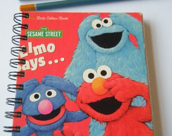 Sketch/Story Writing Book - Sesame Street Elmo Says recycled Little Golden Book
