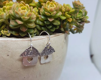 Solid Sterling silver house earrings