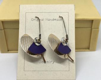 Handmade Purple Clay Bead and Metal Geometric Dangling Earrings