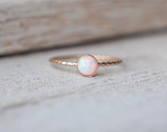 Gold Opal Ring- Opal Ring Gold, Opal Stacking Ring, Opal Gold Ring, Opal Stackable Ring, Dainty Opal Ring, Opal Twist Ring