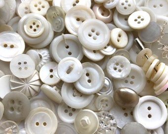 Lot of 200+ Vintage Old Mostly White Ivory Buttons Plastic Mother of Pearl Shell Sewing Crafts Quilting Variety 1950s 1960s