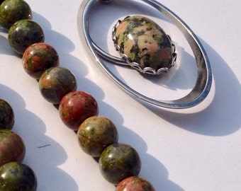Vintage 1970s Unakite Necklace And Matching Bracelet