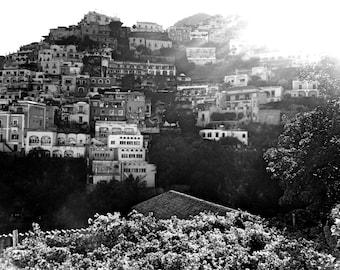 Black and White Positano Travel Photography - Amalfi Coast - Wall Art - Summer Gifts - Kitchen - Bedroom - Bathroom - Living Room