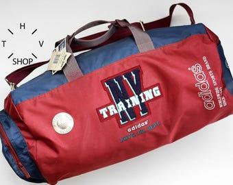 NOS 1993 Adidas Originals New York training handbag / Duffel gym shoulder bag / Collectors sports weekender luggage travel bag / Korea 90s