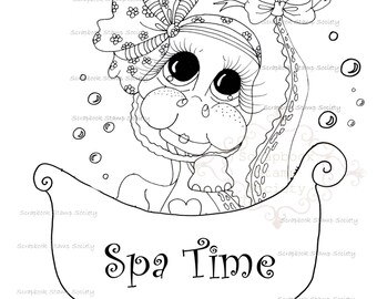 INSTANT DOWNLOAD Digital Digi Stamps Big Eyed Spa Time Besties Big Head Dolls Digi By Sherri Baldy