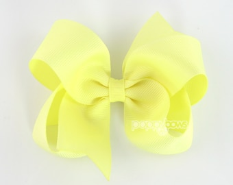 Light Yellow Hair Bow 4 Inch Hairbows - Solid Color Large Boutique Bows for Baby Toddler Girls on Alligator Clip Non Slip Bow