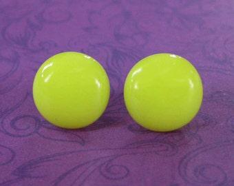 Yellow Earrings, Yellow Round Pierced Post Earrings, Hypoallergenic Studs, Fused Glass Jewelry  -- 2239-5
