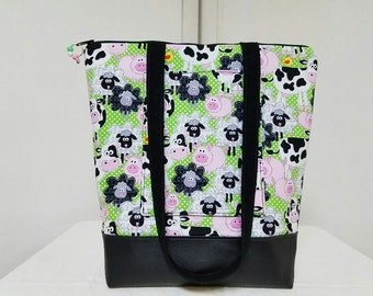 Animal Tote Bag, Vinyl Bottom, Farm Animals Tote with Pocket, Tote Bag with Pigs, Cows, Sheep, Travel Bag, Large Purse, Work Bag