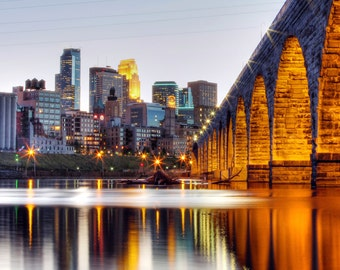 Minneapolis, MN Skyline from Stone Arch - Fine Art Print