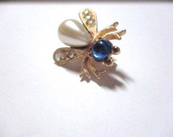 Vintage Bee Scatter Pin Blue Cabochon Pearl AB Rhinstones