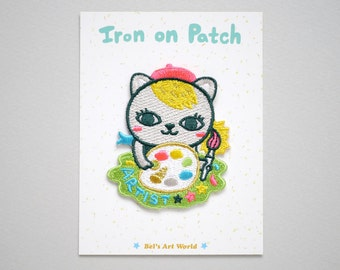 Kitty the Artist Iron On Patch