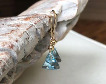 Aquamarine Triangle Earrings in Gold or Silver