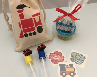 Train Party Favor: Train Favor Bag filled with Play Doh and Train Cutter, Train Bubble Wand and a Train theme tattoo