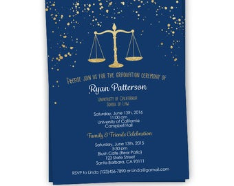 Law school graduation invitation etsy law school graduation invitation navy and gold splatters digital file or printed lawyer filmwisefo Images